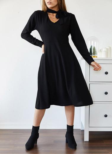 XHAN Boynu Bağlamalı Elbise 9Kxk6-43295-02 Siyah